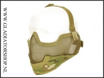 101INC Airsoft mond en oor mesh gezichtsmasker multicam