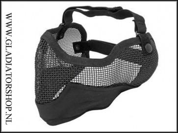 101INC Airsoft mond en oor mesh gezichtsmasker zwart