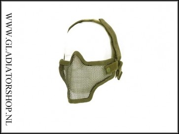 101inc gear Airsoft mesh face mask leger groen