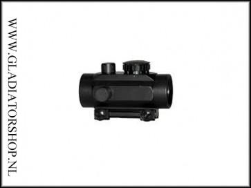 Kunststof scope met red dot en batterij, zonder vergroting.
