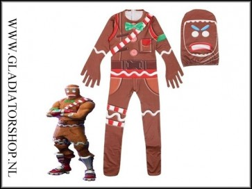 Fortnite Merry Marauder / Gingerbread Man cosplay skin pak voor kinderen