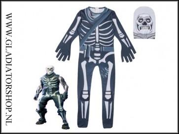 Fortnite Skull Trooper cosplay skin pak voor kinderen