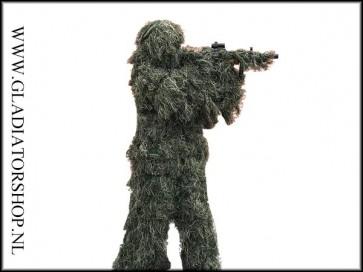 Ghillie 5 delig sniper woodland camouflage suit/pak inclusief een geweer cover.