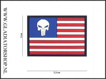 PVC Velcro Patch: USA flag punisher