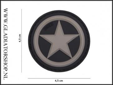 PVC Velcro Patch: Allied star grijs