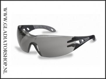 Uvex Pheos Black/Grey, lens smoke - anti-condens & krasvast  (NABV voorschrift EN166-F)