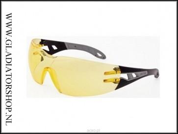 Uvex Pheos Black/Yellow, lens helder - anti-condens & krasvast  (NABV voorschrift EN166-F)