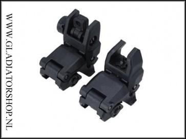 Warrior 21mm weaver AR15, M16 stijl A2 front en rear sight