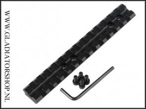 Warrior 140mm x 20mm picatinny base rail met 13 montage slots