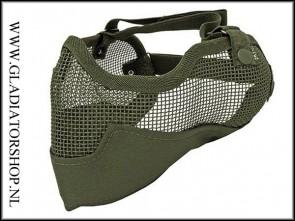 101INC Airsoft mond en oor mesh gezichtsmasker olive