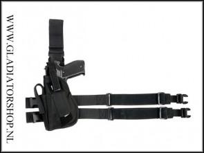 Beenholster De Luxe zwart, links