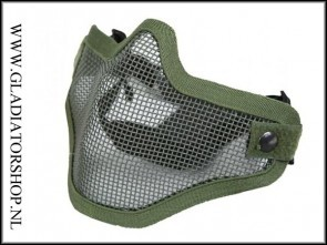 Invader gear Airsoft mesh face mask leger groen