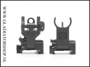 Warrior 21mm weaver AR15, M16 stijl A2 Metal front en rear sight Deluxe