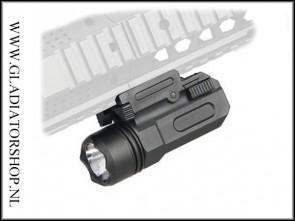 Warrior tactical torch flashlight met een 20mm Mount