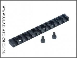 Warrior 124mm x 20mm picatinny base rail met 12 montage slots