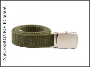 Tropenkoppel riem belt leger groen chrome gesp
