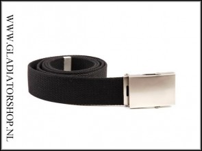 Tropenkoppel riem belt breed zwart met chrome gesp