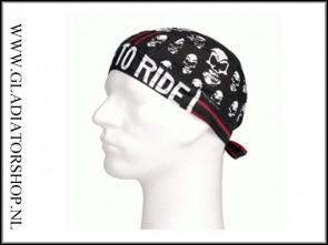 Bandana zwart skul met rode streep