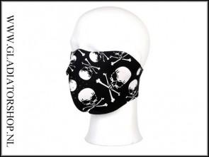 Half Face mask mondbescherming zwart skull & bones
