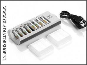 EBL 101 8 slots batterijoplader