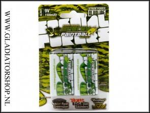 Energy Paintball 9V batterijen 2 pack groen