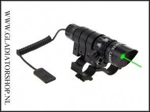 Fastfire 13cm groene laser met weaver en barrel mount.