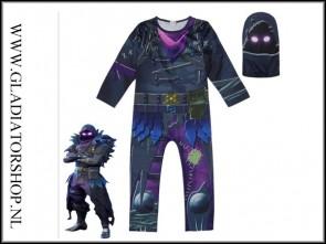 Fortnite Raven cosplay skin pak voor kinderen