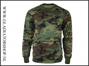 Tactical T-Shirt lange mouw woodland