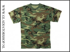 Tactical T-Shirt korte mouw woodland
