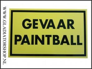 Informatie bord:gevaar paintball