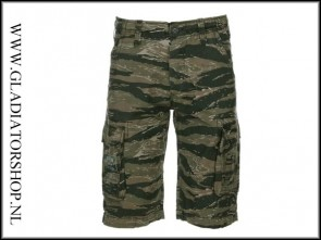 Kosumo stone washed korte broek tiger stripe camo