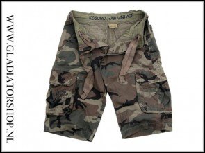 Kosumo stone washed korte broek woodland camo