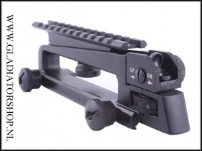 Warrior metalen M16, M4, AR-15, 21mm weaver draaghendel met Picatinny rail combo mount