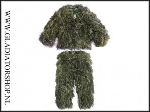 Ghillie sniper suit woodland camouflage inclusief riflerag