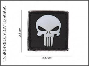 PVC Velcro Patch: Punisher Wit Klein