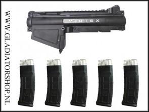 Tacamo Vortex magfed conversion kit voor Tippmann A5 inc. 5 Dmag Helix magazijnen