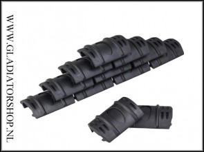 Rubberen tactical rail / hand guard cover 12-pack zwart