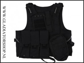 Warrior tactical airsoft vest extra sterk, zwart