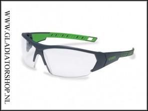 Uvex i-works lime groen, lens helder is anti-condens & krasvast (NABV voorschrift EN166-F)