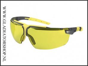 Uvex i-3 anthracite/geel, lens amber is anti-condens & krasvast  (NABV voorschrift EN166-F)