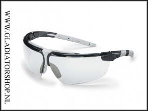 Uvex i-3 AR black, lens helder is anti-condens & krasvast  (NABV voorschrift EN166-F)