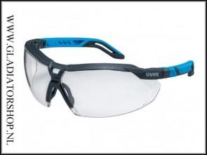 Uvex i-5 antracite/blauw, lens helder is anti-condens & krasvast  (NABV voorschrift EN166-F)