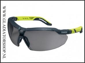 Uvex i-5 antracite/lime, lens smoke is anti-condens & krasvast  (NABV voorschrift EN166-F)