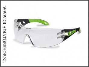 Uvex Pheos Black/Green, lens helder - anti-condens & krasvast  (NABV voorschrift EN166-F)