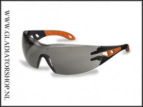 Uvex Pheos Black/Orange, lens smoke - anti-condens & krasvast  (NABV voorschrift EN166-F)