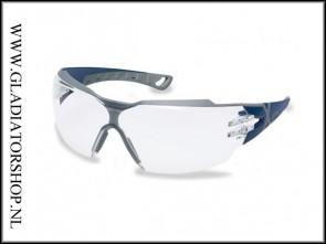 Uvex Pheos cx2 blue/grey, lens helder is anti-condens  & krasvast (NABV voorschrift EN166-F)