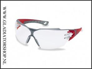 Uvex Pheos cx2 red/grey, lens helder is anti-condens  & krasvast (NABV voorschrift EN166-F)