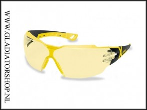 Uvex Pheos cx2 black/yellow, lens geel  is anti-condens  & krasvast  (NABV voorschrift EN166-F)/