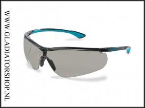 Uvex Sportstyle black/blue, lens smoke is ani-condens  & krasvast  (NABV voorschrift EN166-F)