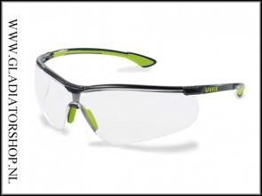 Uvex Sportstyle lime, lens helder is anti-condens & krasvast  (NABV voorschrift EN166-F)